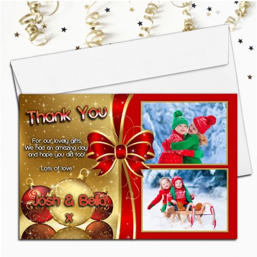 10 Personalised Red & Gold Christmas Xmas Thank you PHOTO Cards N49